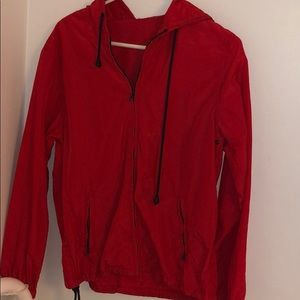 Bright red windbreaker from pacsun